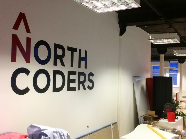 North Coders, Manchester – Logo painted in signwriting enamel